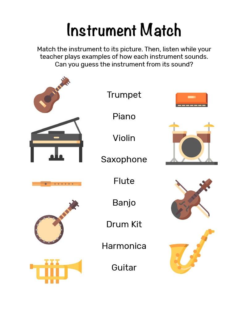 Mini Music Makers Workbook - Instrument Match