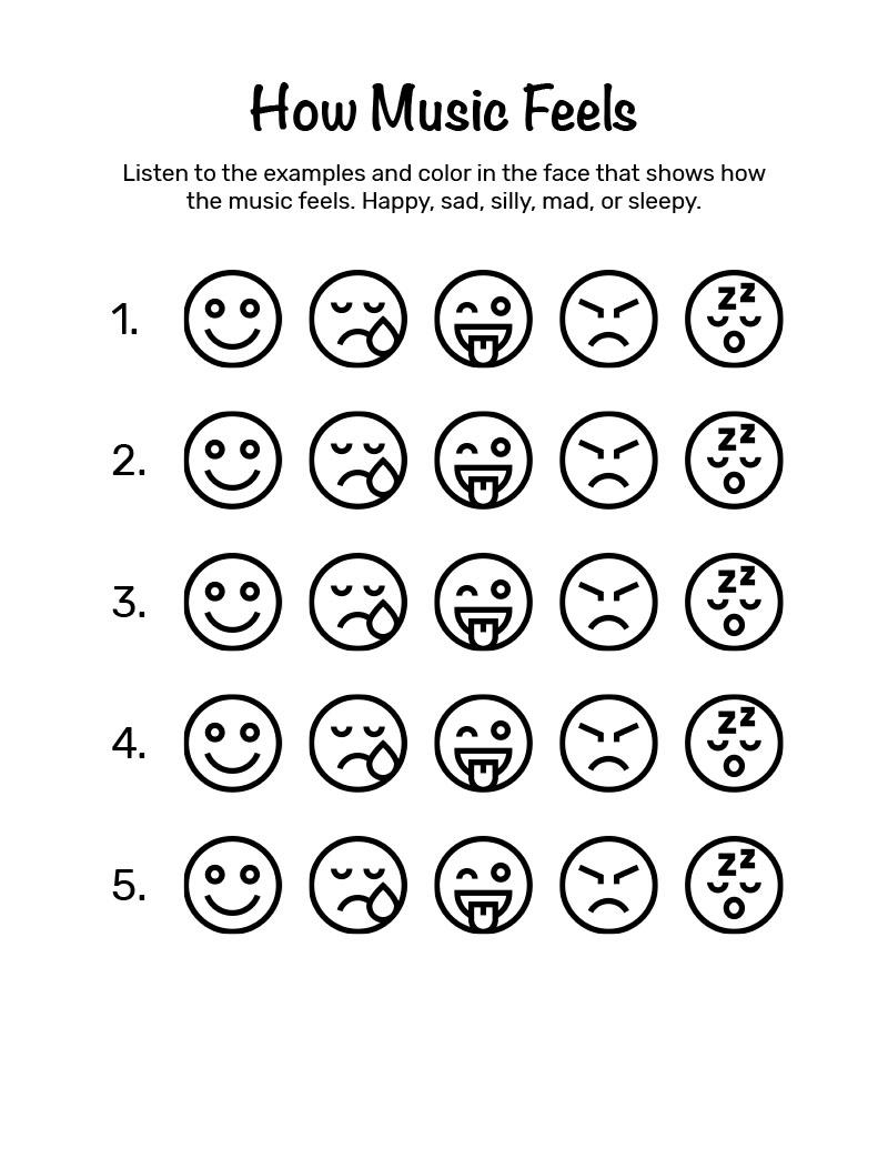Mini Music Makers Workbook - How Music Feels